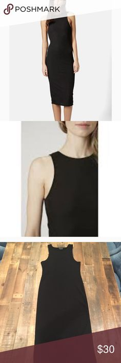 TOPSHOP Black Ribbed Knit Midi Tank Dress Super tight fitting and adorable. Ribbed knit high neck tank dress. Can be dressed up or down. Never worn. Topshop Dresses Midi