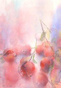 pomegranates - Kanta Harusaki - watercolor
