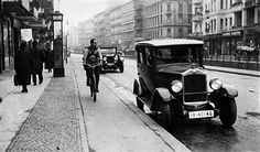BERLIN Fahrradweg in der Landsberger Allee in Friedrichshain,Germany Free State Prussia Berlin Berlin Bikeway at the Ladnberger Allee - Photographer: Herbert Hoffmann- Published by: 'Tempo' Vintage property of ullstein bild Berlin Berlin, Free State, Prussia, Historical Photos, The Past, Germany, Black And White, History, City