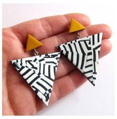 Diy Clay Earrings, Big Earrings, Earrings Handmade, Statement Earrings, Handmade Jewelry, Terracotta Jewellery, Ceramic Jewelry, Polymer Clay Crafts, Polymer Clay Jewelry