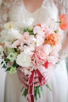 Pink + Peach Bridal Bouquet by The Nouveau Romantics | Photo credit The Nichols