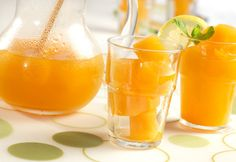 Freshly brewed green tea and chilled Diet V8 Splash Tropical Blend Juice are frozen, then served with mint and lemon.