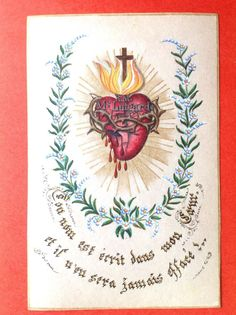 LOVELY ANTIQUE HOLY CARD FLAMING AND BLEEDING HEART