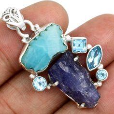 Larimar-Dominican-Republic-Slice-925-Silver-Pendant-Jewelry-SP145546