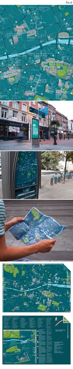 Dublin City dual language pedestrian wayfinding map design for on-street and handheld use by fwdesign. #map #tourist #wayfinding