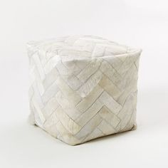 Pieced + Patched Cowhide Pouf - Square   west elm