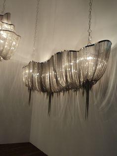 Modern Metal Chandelier: A fabulous modern Italian chandelier with gorgeous fine nickel strings.  This is a wonderful modern,Lighting