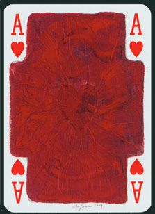 "Anish Kapoor Ace of Hearts, 2005 ""Anish Kapoor's small 'red wax' style image contrasts with the artist's 115 metre tower in the Olympic Park. Paper Journal, Illustrations, Illustration Art, Ace Of Hearts, Anish Kapoor, Hirst, Heart Art, Deck Of Cards, Abstract Pattern"