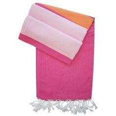 Hamamtuch Alexa fuchsia mit orange und rosa - neue Pestemal-Kollektion. Turkish Towel Alexa from our new collection www.hamamista.com