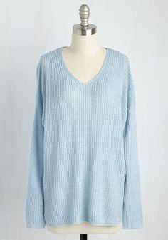 The train ride from New York to Chicago is no quick trip, so you'll need this sky blue sweater for stylish support! This ModCloth exclusive's loose fit and semi-sheer knit provide cozy vibes while you pass the time reading, journaling, and drawing - hobbies that all have our vote as winning ways to pass the time.