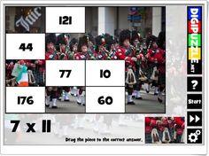 """St. Patrick's Day Multiplication"" (Puzzle de tablas de multiplicar)"