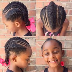 Natural hairstyle for girls Cornrows + bows  Natural hair