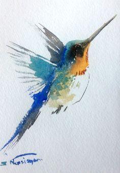 Hummingbird, Small original watercolor painting, 7 X 5 in, hummingbird lover art