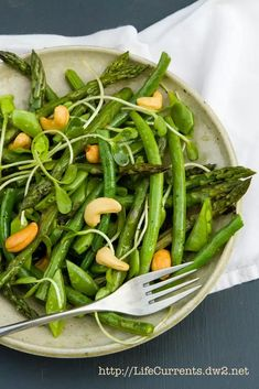 Spring Salad is all the spring veggies cooked to perfection, and tossed in a lovely light White Balsamic Basil Vinaigrette. The perfect way to welcome and celebrate spring! Whole 30 Snacks, Whole 30 Recipes, Whole Food Recipes, Sin Gluten, Whole 30 Vegan, Clean Eating, Healthy Eating, Healthy Food, Healthy Meals