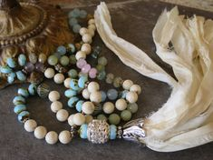 Boho style Necklace, Off White sari silk handmade tassel, Shabby chic, Hand knot gemstones