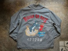 USN HICKORY STRIPE Shawl Collar Jacket with Painting Reproduction WW2 #OlddogNewtricks #Military