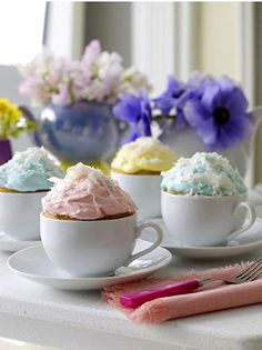 Cupcakes baked in tea cups! #teaparty
