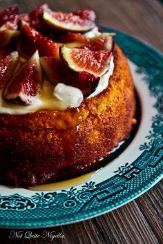 Luscious Fig & Yogurt Almond Cake (Gluten Free) luscious figs and honey on top of a moist yogurt cake. Fig Recipes, Almond Recipes, Sweet Recipes, Baking Recipes, Cake Recipes, Dessert Recipes, Gluten Free Cakes, Gluten Free Baking, Gluten Free Desserts