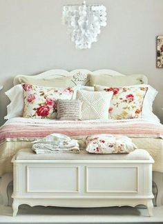 Cream and floral bedroom.