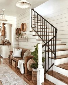 Staircase Railings, Iron Stair Railing, Stairways, Beautiful Bedroom Designs, Beautiful Bedrooms, House Beautiful, Farmhouse Stairs, Farmhouse Flooring, Ship Lap Walls