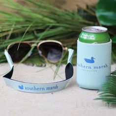 Coozie & Sunglass Strap Set in Ocean Green Lakeside Cotton, Marley Lilly, Southern Marsh, Monogram Gifts, Jewelry Gifts, Ocean, Sunglasses, Bottle, Amp