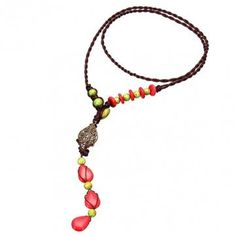 Fashionable Chinese Handmade Red Turquoise Sweater Necklace - NewChic