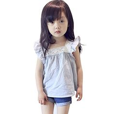 Smart Baby Girls Clothes Summer Tops Square Collar Short Tees * Click on the image for additional details.