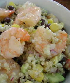 Shrimp, corn, avocado, quinoa, onion and black bean