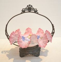 Victorian Bride Baskets | VICTORIAN RUFFLED BRIDES BASKET WITH ENAMELED FLOWERS IN SILVERPLATE ... Crystal Glassware, Antique Glassware, Victorian Bride, Victorian Fashion, Victorian Baskets, Vases, Brides Basket, Antique Auctions, Bottles And Jars