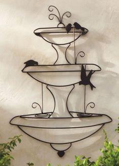 Fonte com Passaros de Arame para decoração