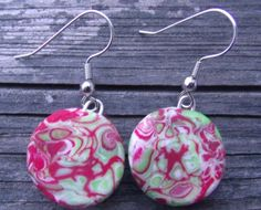 Unique Christmas Red and Lime Green Polymer by clayandbeads4me, $5.00