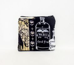 Small Fabric Pouch, Small Zipper Pouch, Small Change Purse, Coin Purse, Pouch, Flat Pouch, Poe Pouch,  Poe Motifs - pinned by pin4etsy.com