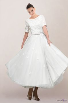 Pretty Illusion Neckline Tea-length Wedding Dress with Appliqued Bodice and Bow Sash