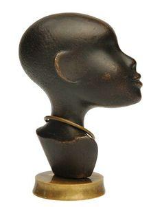 Vintage Austrian Bronze African Sculpture by Franz Hagenauer