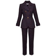 Preowned 1980s Saint Laurent Rive Gauche Brocade Paisley Print Suit... ($820) ❤ liked on Polyvore featuring black, suits, stretchy pants, 80s pants, 1980s parachute pants, dress pants and yves saint laurent