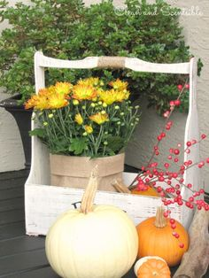 Less is more - interesting, clean and colorful. Use what you have - tool shed carrier/bin.
