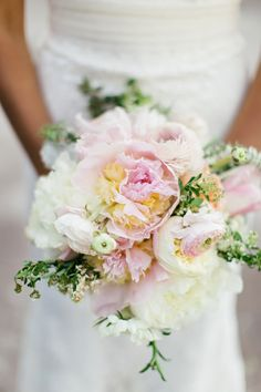 romantic pink and white peony and ranunculus bouquet by Shea Hopely Flowers