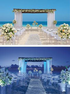 daytime or nighttime beach wedding secrets capri riviera cancun mexico destination wedding