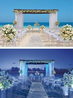 daytime or nighttime beach wedding secrets capri riviera cancun mexico destination wedding