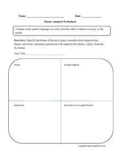theme worksheet identifying and development part 1 beginner board pinterest. Black Bedroom Furniture Sets. Home Design Ideas