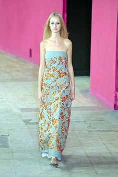 Dries Van Noten | Spring 2000 Ready-to-Wear | 58 Blue/copper floral strapless maxi dress