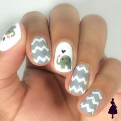 """If you're unfamiliar with nail trends and you hear the words """"coffin nails,"""" what comes to mind? It's not nails with coffins drawn on them. Although, that would be a cute look for Halloween. It's long nails with a square tip, and the look has. Fancy Nails, Love Nails, Diy Nails, Elephant Nails, Pink Elephant, Nail Art Vernis, Chevron Nail Art, Gray Nail Art, Chevron Nail Designs"""