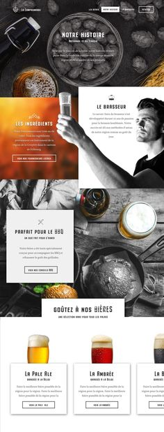 Draft of a website for a local brewery. Draft of a website for a local brewery. Website Design Layout, Web Layout, Layout Design, Webdesign Inspiration, Website Design Inspiration, Email Design, App Design, Flat Design, Web Design Mobile