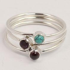 3 Pieces Stacking Ring Size UK N & O MULTI-COLOR Gemstones 925 Sterling Silver #Unbranded #Fashion