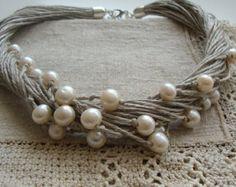 Perle d'acqua dolce e collana lino / rustico collana da sposa collana
