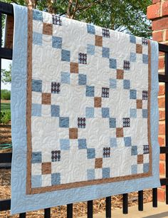 A sweet baby boy quilt... could use the camo for the white and coordinating browns/tans for the blues and browns.