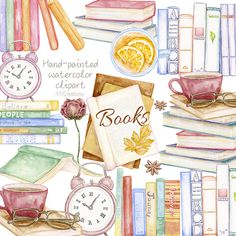 Book Clip Art, Baby Shower Clipart, Watercolor Books, Back To School Organization, Craft Business, Etsy Vintage, Hand Painted, Literature, Bibliophile