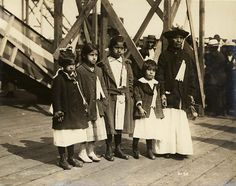 "Snoqualmie Indians at the launching of the steamer ""Snoqualmie,"" 1919, UW Library American Indians of the Pacific Northwest Collection"