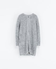 Loop knit coat with zip