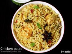 Chicken pulao recipe - one pot delicious chicken pilaf made with mild spices, fragrant rice and chicken. Chicken Pulao Recipe, Chicken Rice Recipes, Chicken Masala, Veg Pulao, Biryani, Indian Food Recipes, Asian Recipes, Ethnic Recipes, Pulao Recipe Indian